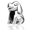 Ultra Chic Puppy Shaped Silver Plated Beads Charms Bracelets
