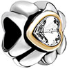 22K Heart Wheel Spacer Two Tone Plated Beads Charms Bracelets