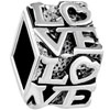Diced  Love  Silver Plated Beads Charms Bracelets