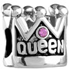 Pink Crystal Queen Crown Fit All Brands Silver Plated Beads Charms Bracelets