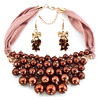 Bling Jewelry Characteristic Design Brown Pearls Necklace And Earrings Set...