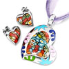 Murano Glass Millefiori White Color Heart Pattern Pendant