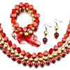 Red And Gold Necklace Bracelet And Earrings Set Pendant