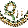 Green And Gold Necklace Bracelet And Earrings Set Pendant