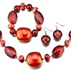 Red Necklace Bracelet And Earrings Set Pendant