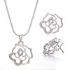 Hollow Rose Flower Pendant Necklace Stud Earrings Set