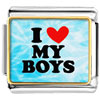 I Love My Boys Red Heart Photo Charm Photo Italian Charm