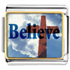 Believe With Cross Charm Photo Italian Charm