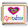 Colorful Grandma Heart Charm Photo Italian Charm