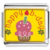 Happy B Day Pink Cake Charm Photo Italian Charm