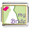 Heart My Bride Charm Photo Italian Charm