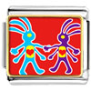 Colorful Kokopelli Heart Charm Photo Italian Charm
