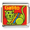 Green Colorful Cat Gatito Charm Photo Italian Charm