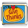 Give Thanks Heart Pumpkin Charm Photo Italian Charm