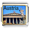 Gold Plated Travel Parliament Building Of Austria Photo Italian Charm Brac...