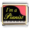 Gold Plated Music I Am A Pianist Photo Italian Charm Bracelets