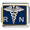 Silver Tone Registered Nurse Rn Caduceus Photo Charm Photo Italian Charm