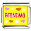 Grandma Hearts Flowers Charm Photo Italian Charm