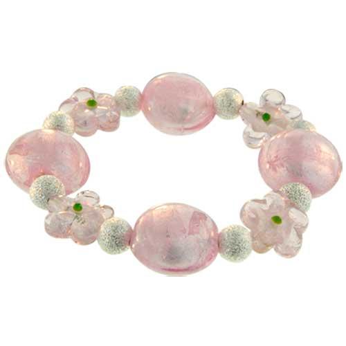 Pugster Handmade Pink Flower Ideas Mother Beads Murano Glass Bracelet BR_041_X17