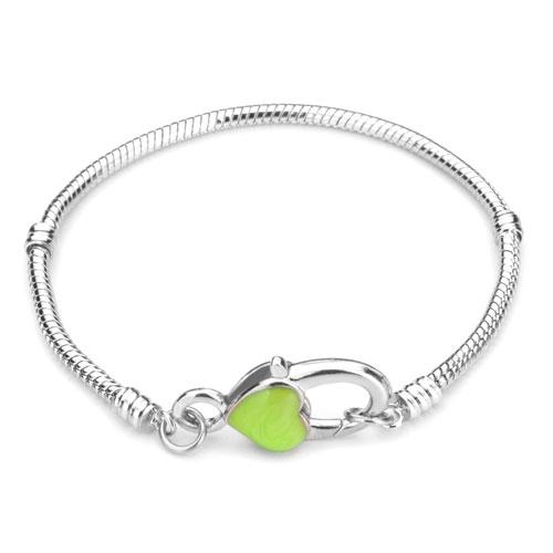 Pugster Chain Bracelets Peridot Green Heart Snake Chain Charm Starter Bracelets