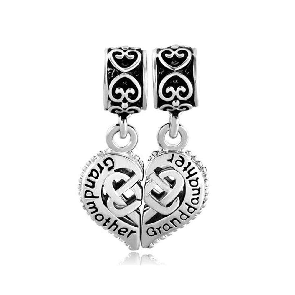 Pugster Vintage Silver P Mother Daughter Heart Celtic Knot Charms Bracelets Fits Pandora Charm Bracelet