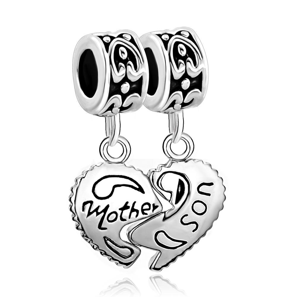 Mother Son Heart Charms Dangle Love Family Sale Cheap Jewelry Beads Set Pandora Compatible Charm Bracelet
