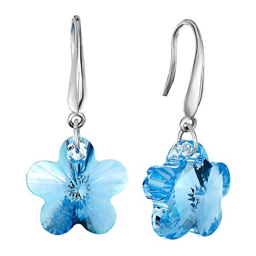 Pugster March Birthstone Aquamarine Flower Crystal 925 Sterling Silver Dangl..