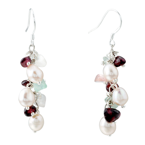 Pugster Chip Stone Earrings Genuine Pearl Red Gemstone Nugget Chips Dangle Earring