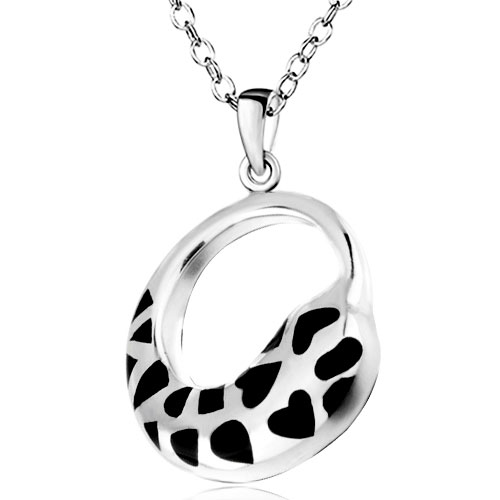 Pugster Silver Cricle Black Heart Pendant Necklace Christmas
